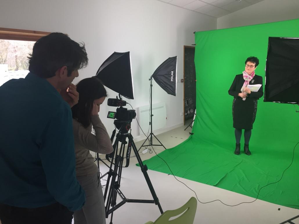 tournage avec un fond vert